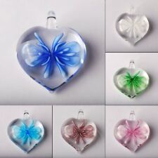 Fashion Heart Flower Lampwork Glass Murano Pendant For Necklace Womens Jewelry