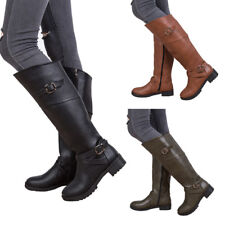 Womens Long Stretch Over Knee Boots Buckle Zipper Mid Heel Boot Slim Shoes Size