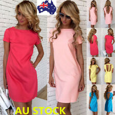 Women Summer Short Sleeve Backless Dress Evening Party Cocktail Beach Mini Dress