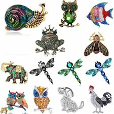 2017 Animal Dog Owl Elephant Crystal Rhinestone Brooch Pin Women Costume Jewelry