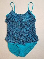 NEW WOMENS TROPICAL ESCAPE MESH TIERED BLUE ONE PIECE SWIMSUIT SZ 10 NWT $84