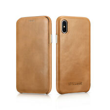 For iPhone X 10 ICARER Genuine Real Leather Ultra Slim Flip Phone Case Cover NEW