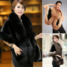 New Women Fashion Cloak Cape Winter Poncho Faux Fur Coat Overcoat Jacket Outwear