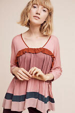 NWT Anthropologie Colorblock Ruffle Top by Meadow Rue, XXS,S, M, Colorful Blouse