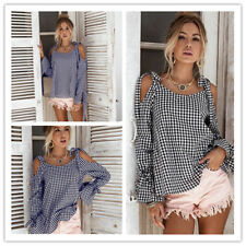 Women's Plaid Checks Tether Cold Shoulder Long Flare Sleeve Shirt Top Blouse