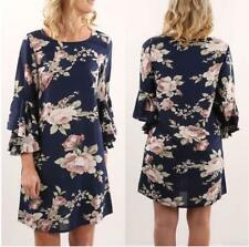 Women's Casual Floral Pattern Shift Round Neck 3/4 Bell Sleeve A Line Mini Dress