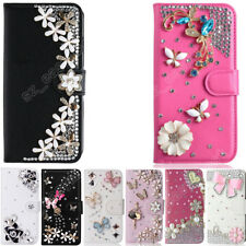 Bling Rhinestone Cover Diamond Crystal Leather Flip Wallet Phone Case For HTC