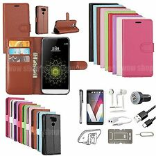 8 in 1 Leahter Case Cover Earphones Car Charger Accessory Bundle Gift Set For LG