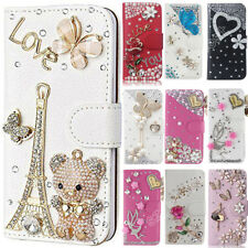 Sparkle Bling Rhinestone Crystal Case Cover PU Leather Shell For Samsung Galaxy