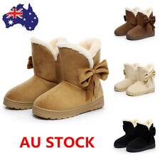 Women Winter Warm Fur Lined Flat Snow Boots Ankle Boots Bowknot Slip On Shoes