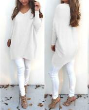 Women's Casual Loose V Neck Knit Sweater Pullover Long Undershirt Top Mini Dress