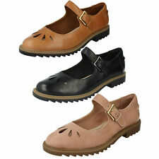 SALE LADIES CLARKS BUCKLE LOW HEEL CASUAL LEATHER DOLLY SHOES GRIFFIN MARNI
