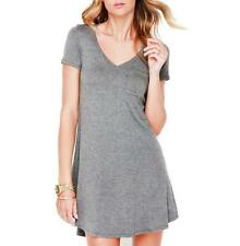 Women Solid V-Neck Short Sleeves Front Pocket Loose Stretchy Casual Mini Dress