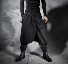 Mens Gothic Black Loose Harem Pants Nightclub Hip hop Casual Trousers Carpenters