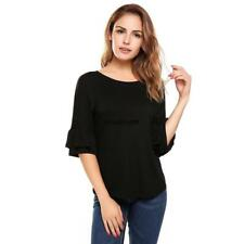 Women Casual Ruffle Sleeve Round Hemline O Neck Solid Loose Pullover LKR8