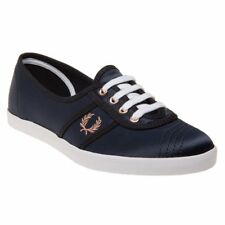 New WOMENS FRED PERRY BLUE AUBREY SATIN Sneakers PLIMSOLLS