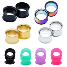 Double Flare Stainless Steel Ear Plugs Earlet Hollow Silicone Ear Gauges Pierces