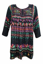 Boho Gypsy Hippie Summer Tunic Black Printed Button Front Long Sleeves Dress