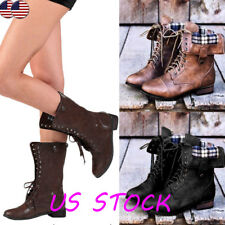 US Womens Military PU Leather Zipper Lace Up Mid-Calf Boot Flat Boots Shoes Size