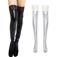 1 Pair Lace Wet Look Thigh High Stay up Stocking Underwear Role Play Lingerie