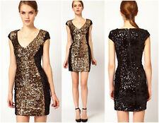 BNWT French Connection FCUK NEW £175 Moonray Sequin Pencil Club Party Mini Dress