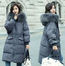 Womens Fur Collar Hooded Jackets Duck Down Coat Outerwear Parka Winter Warm Chic