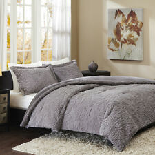 *NEW Deluxe Grey Ivory Sheared Faux Mink Soft Fur Comforter Set Full Queen King