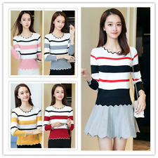 Women's Striped Ruffled Round Neck Long Sleeve Slim Fit Knit Top Bottoming Shirt