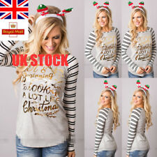 Womens Striped Crew Neck T-shirt Long Sleeve Casual Blouse Christmas Tops S-3XL