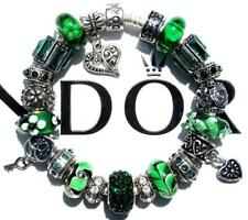 Authentic PANDORA Silver Charm Bracelet with Charms EMERALD EYES EE57