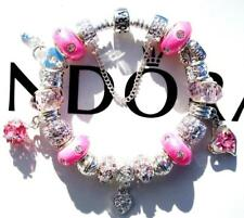 Authentic PANDORA Silver Charm Bracelet with Charms PINK ICICLES EE28