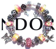 Authentic PANDORA Silver Charm Bracelet with Charms PINK LEMONADE EE76