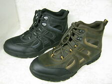 Mens A3032 Black Or Brown Leather & Synthetic Lace Up Casual Ankle Boots