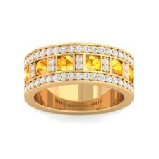 Orange Citrine IJ SI Diamonds Ewedding Band With Gemstones 18K Solid Gold