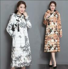 Womens Chinese Cheongsam Floral Printed Coat Thicken Long Down Jacket Trassels