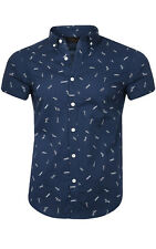 glo-story Building Shirt Men Short Sleeve Shirt Leisure Shirt Blue mcs-3765 SALE