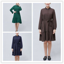Women Solid Mock Neck Button Long Sleeves Tie Waist Ruffle Hem Knee Length Dress