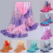 Women Autumn Winter Scarf Rose Pattern Chiffon Shawl Wrap Wraps Scarf Scarves