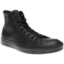 New Mens Converse Black All Star Hi Leather Trainers Top Lace Up