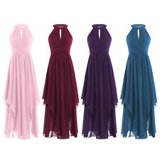 Women Dress Bridesmaid Formal Long Evening Halter Chiffon Gown Party Cocktail