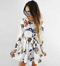 Women's Casual Floral Print Crewneck Pleated A Line Mid Waist Basic Short Dress