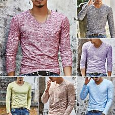 Men's Casual V-Neck Long Sleeve Shirts Slim Fit Muscle T-Shirt Tops Basic Tee