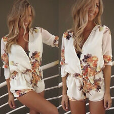 Women's Floral Print V Neck Button Front Elastic Waist Short Jumpsuits Rompers