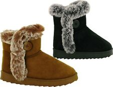 Ladies Ankle Boots Fur Faux Pull On  Winter Warm Women Boots UK Size 3-8