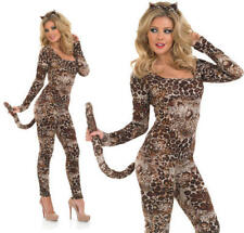 Ladies Womens Cougar Catsuit Fancy Dress Costume Sexy Leopard Jungle Cat  XXL