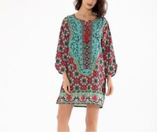 Women Vintage Floral Print Crew Tie Neck Long Lantern Sleeves Loose Mini Dress