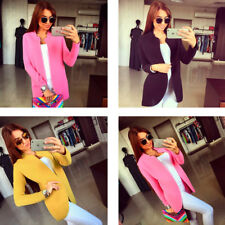 Women Causal Solid Strip Long Sleeves Front Open Slim Fit Cardigan Short Coat