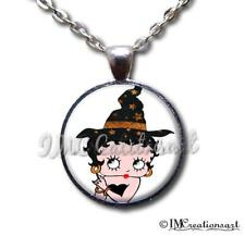 Handmade Glass Pendant Necklace Halloween Vintage Wearable Art Betty Boop Witch