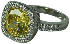 CANARY CUBIC ZIRCONIA STERLING SILVER (.925) COCKTAIL RING