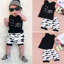 2PCS Baby Kids Boys Shark Outfit Tank Top T-shirt + Shorts Pants Summer Clothes